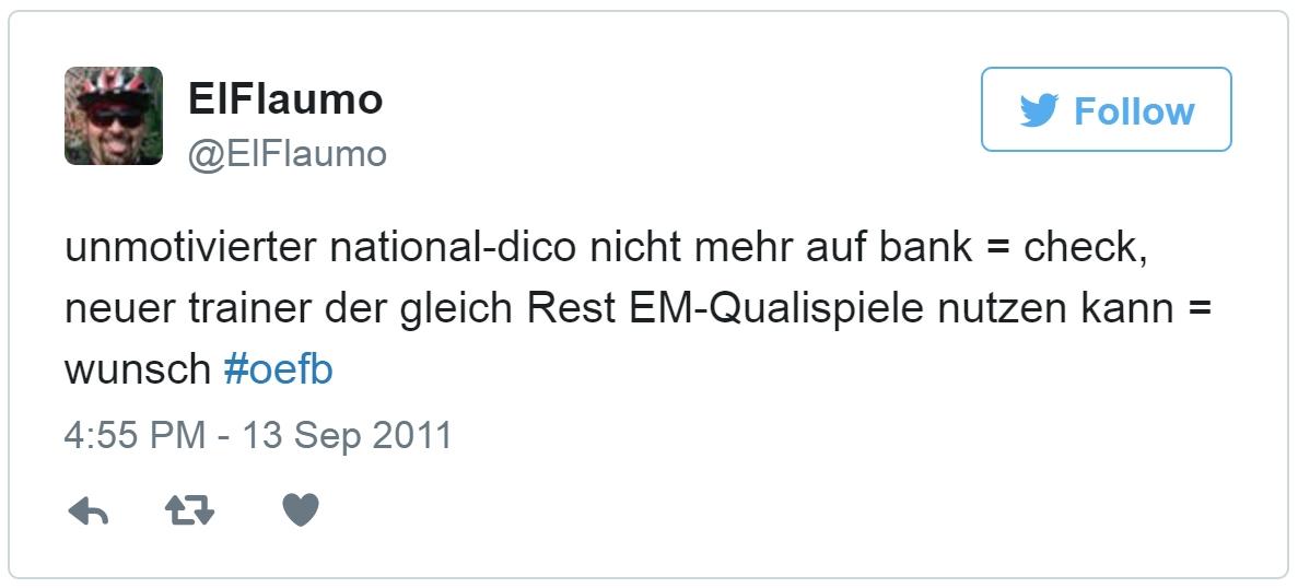 """Screenshot Tweet: """"unmotivierter national-dico nicht mehr auf bank = check, neuer trainer der gleich Rest EM-Qualispiele nutzen kann = wunsch #oefb"""""""